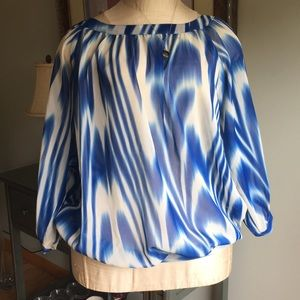 Sheer blue and cream blouse